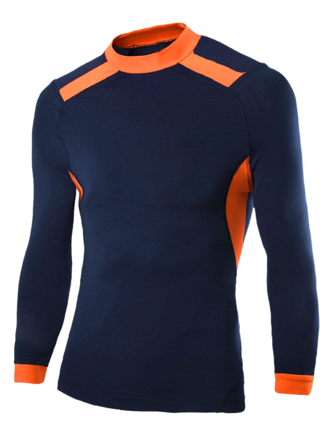 Men Sportswear Contrast Color Moisture-Wicking T-Shirt Navy Blue