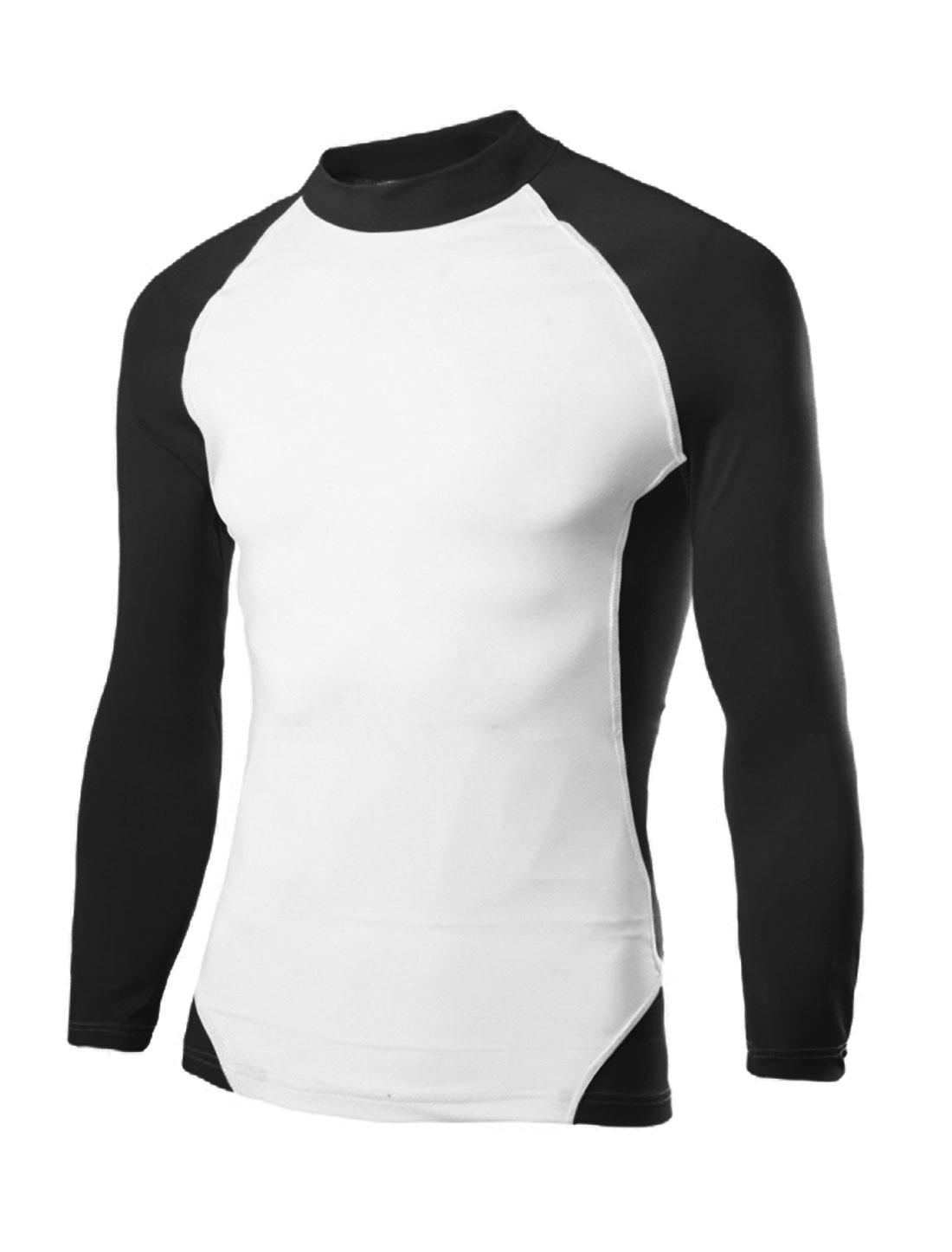 Men Contrast Color Moisture-Wicking Long Raglan Sleeves T-Shirt Black White M