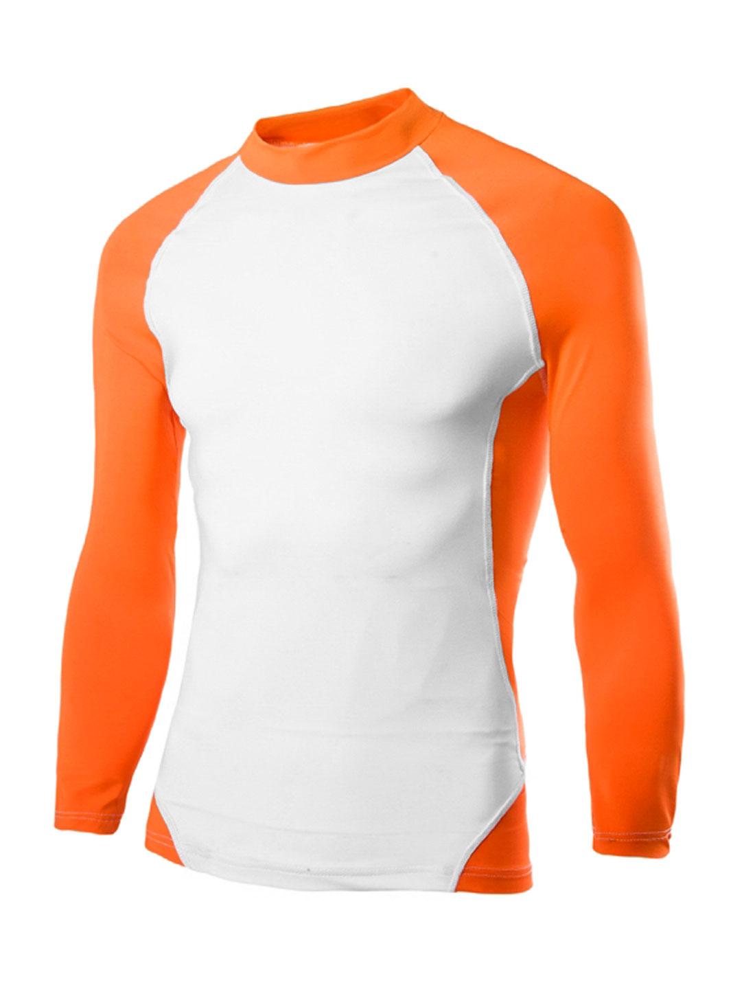Men Contrast Color Raglan Sleeves Sports T-Shirt Orange White M