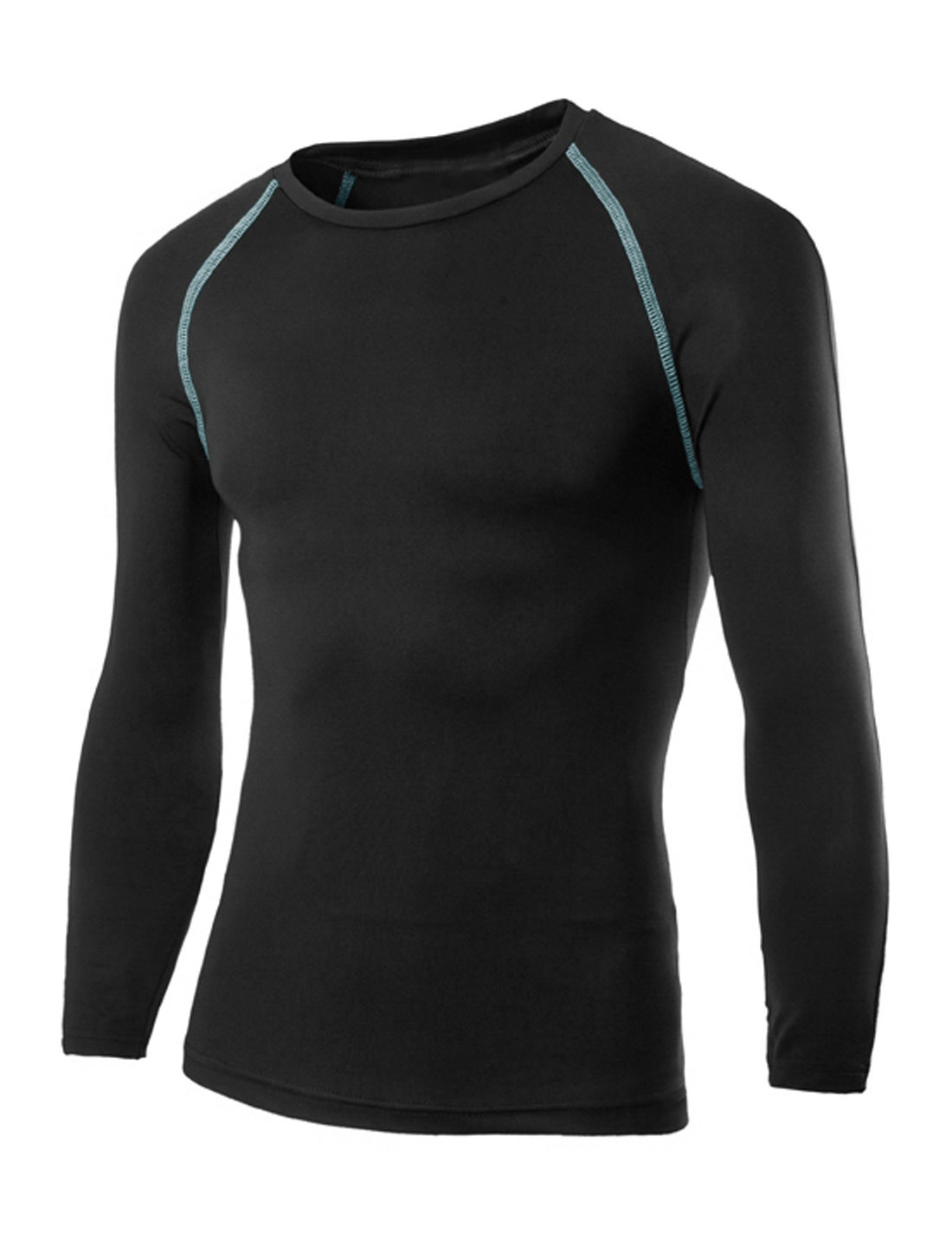 Men Seamed Detail Moisture-Wicking Long Sleeves T-Shirt Black M