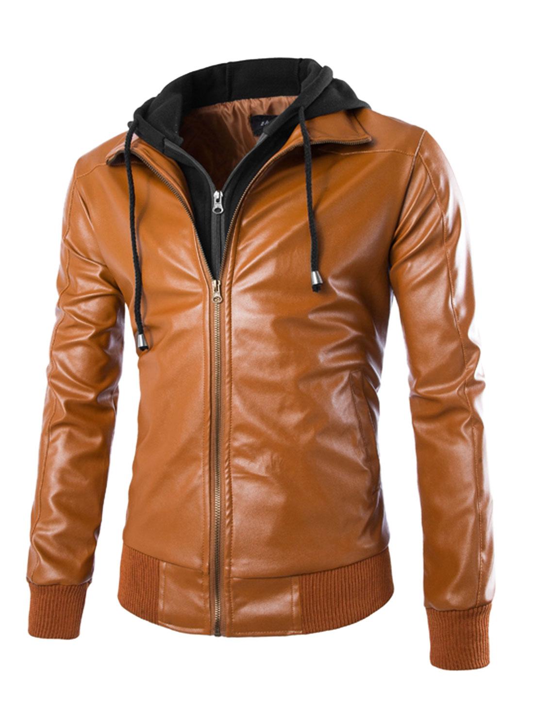 Men Turn Down Collar Long Sleeves PU Leather Hooded Jacket Brown M