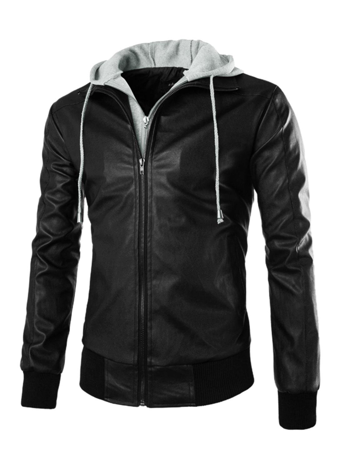Men Turn Down Collar Ribbed Hem PU Leather Hooded Jacket Black M