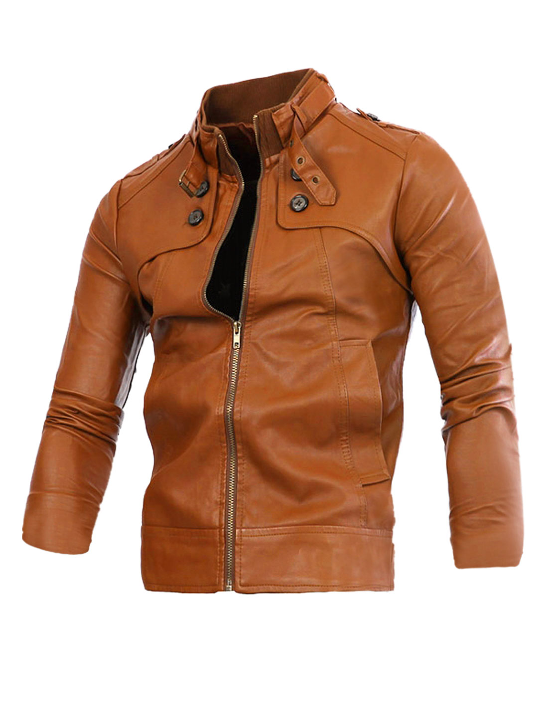 Men Stand Collar Button-tab Epaulets PU Leather Motorcycle Jacket Brown M