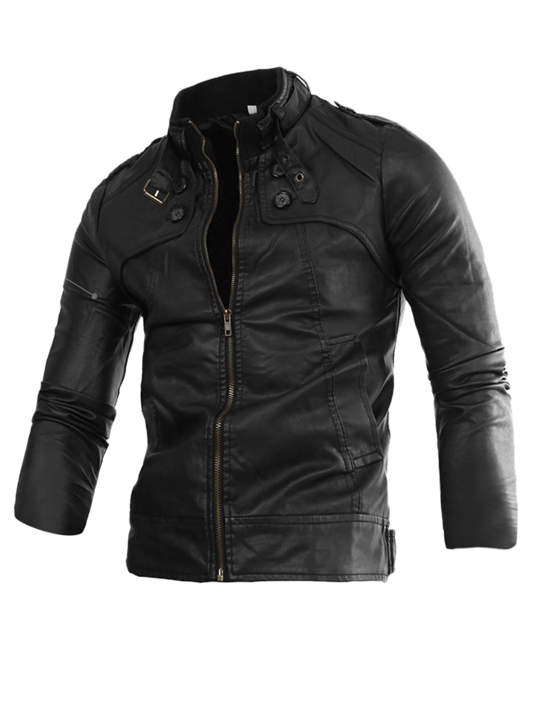 Men Button-tab Epaulets Zip Up PU Leather Motorcycle Jacket Black M