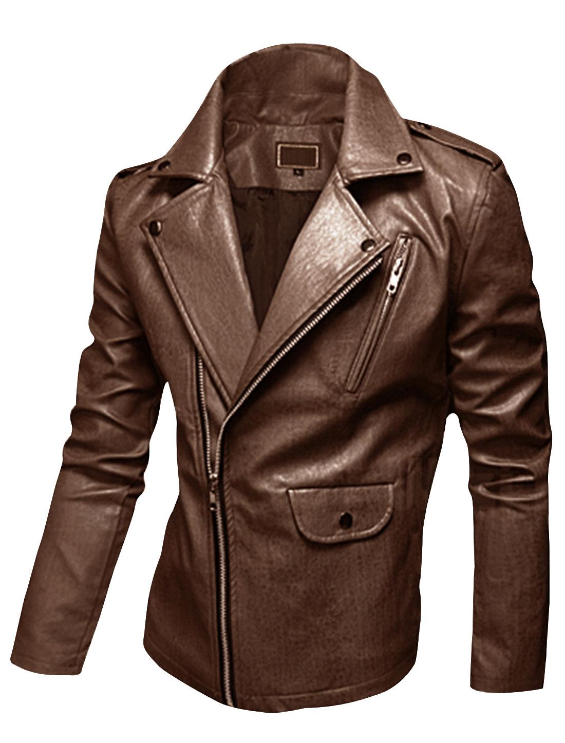 Men Turn Down Collar Inclined Zipper PU Motorcycle Jacket Coffee M