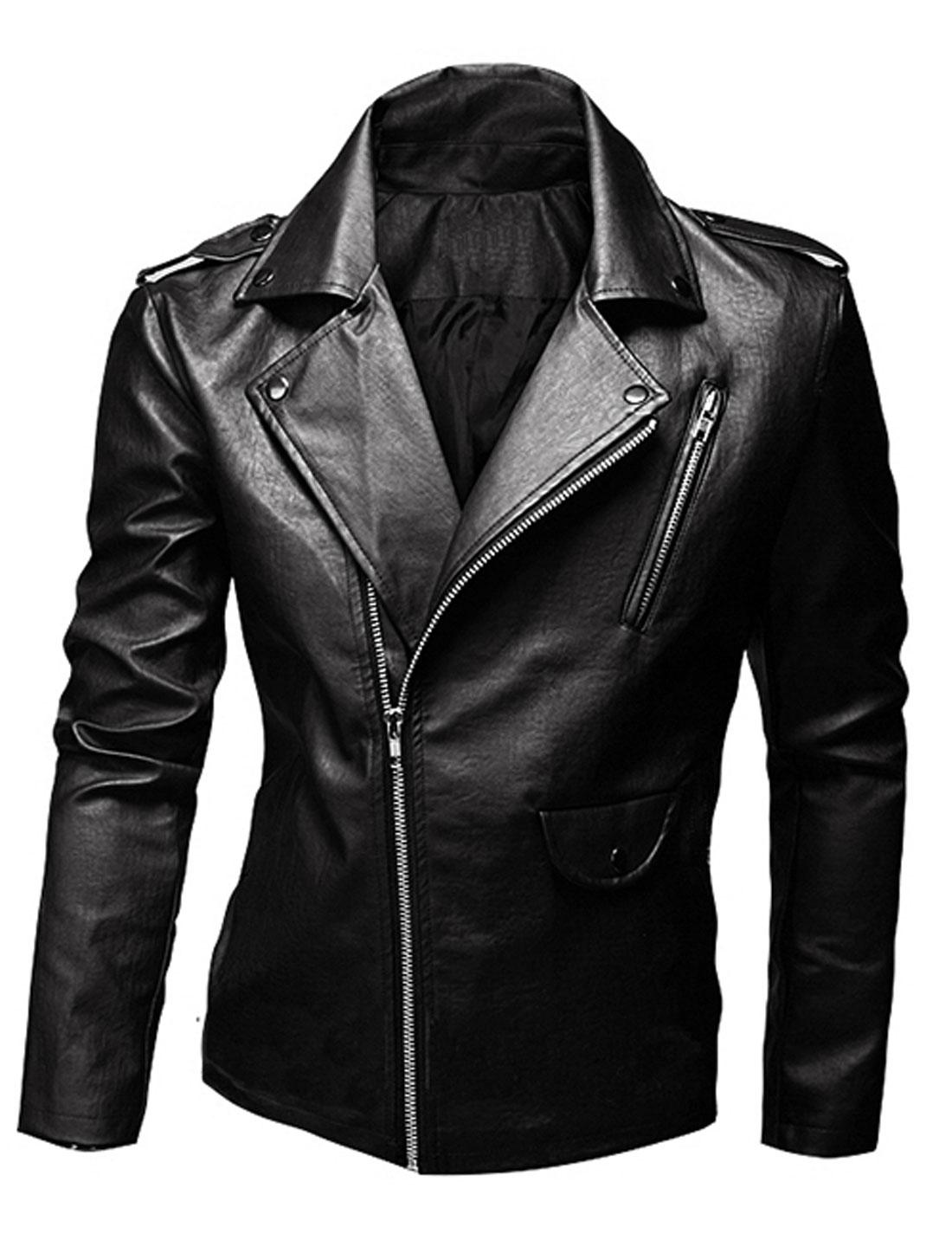Men Turn Down Collar Long Sleeves Casual Motorcycle Jacket Black M