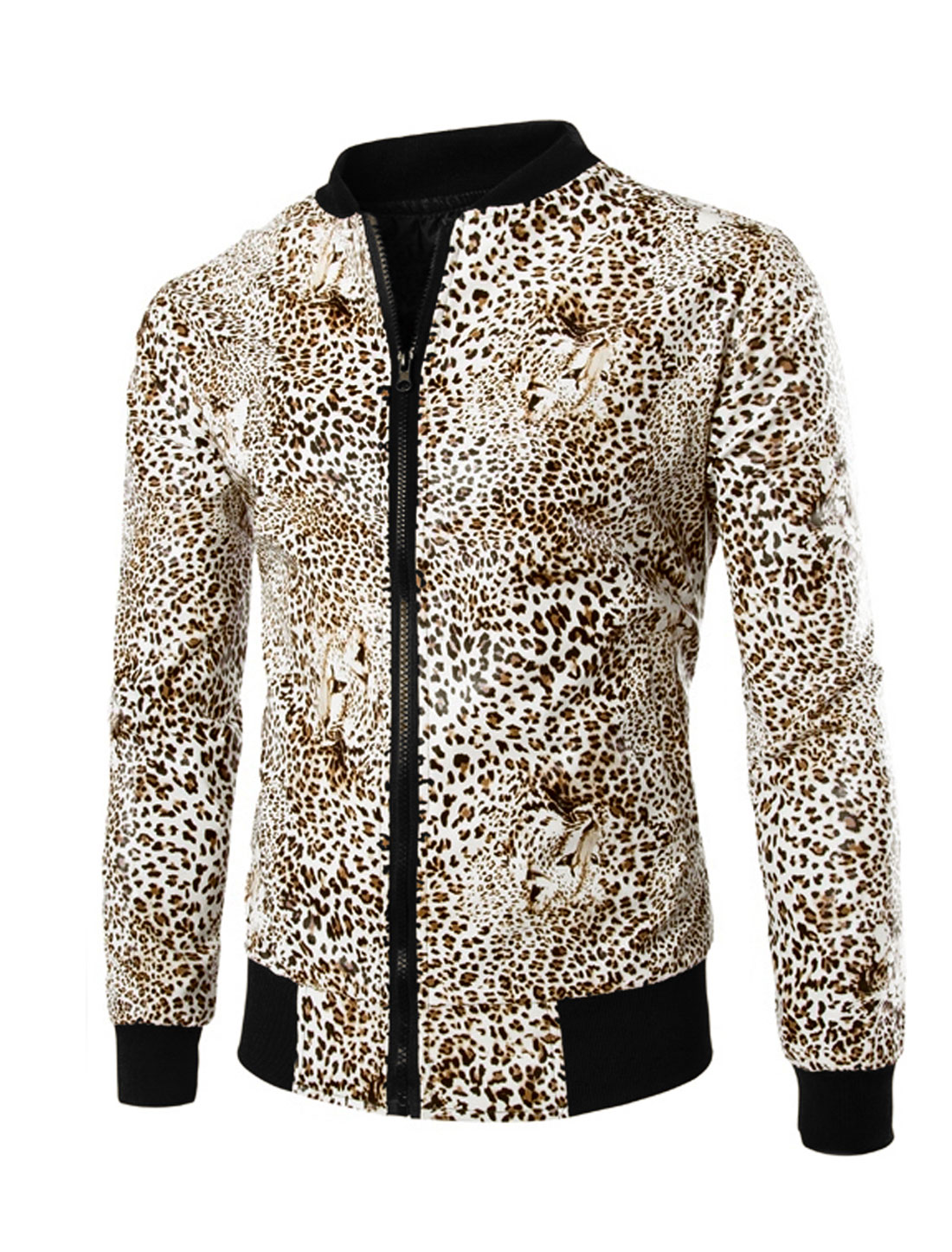 Men Stand Collar Long Sleeves Lined Leopard Prints Bomber Jacket Khaki M