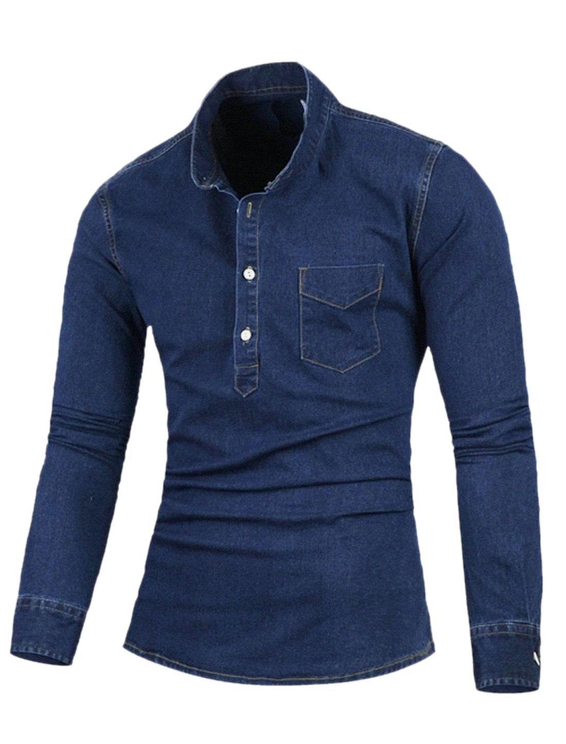 Men Long Sleeve Chest Pocket Casual Denim T-Shirt Navy Blue S