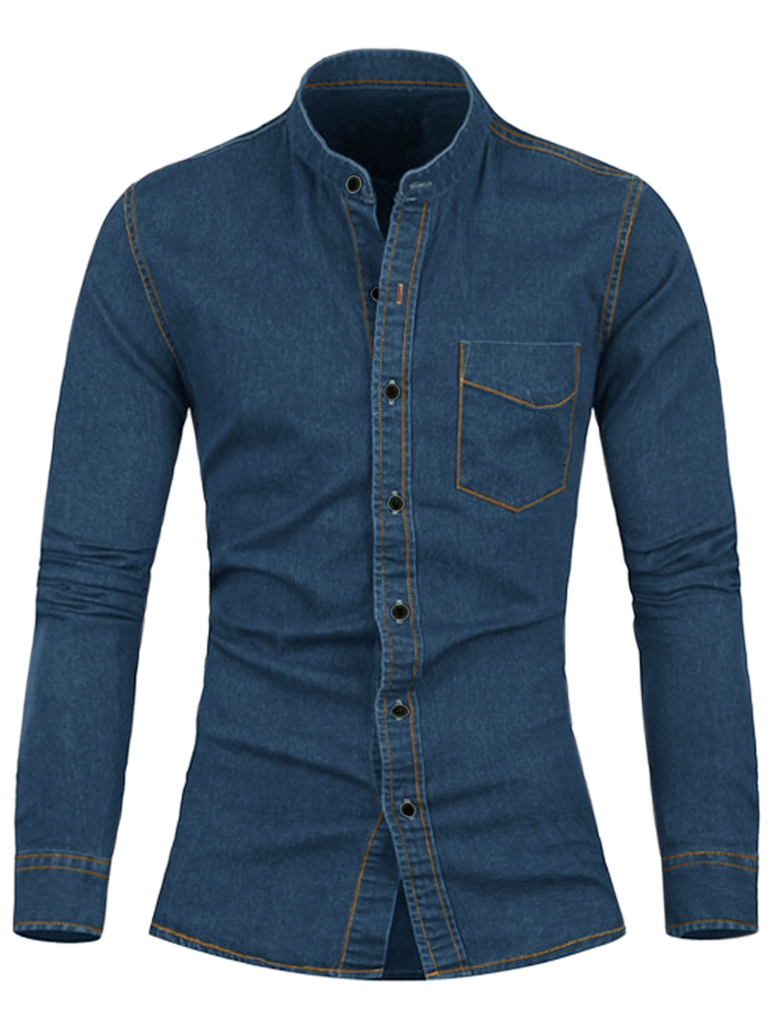 Men Stand Collar Chest Pocket Button Down Casual Denim Shirt Blue S