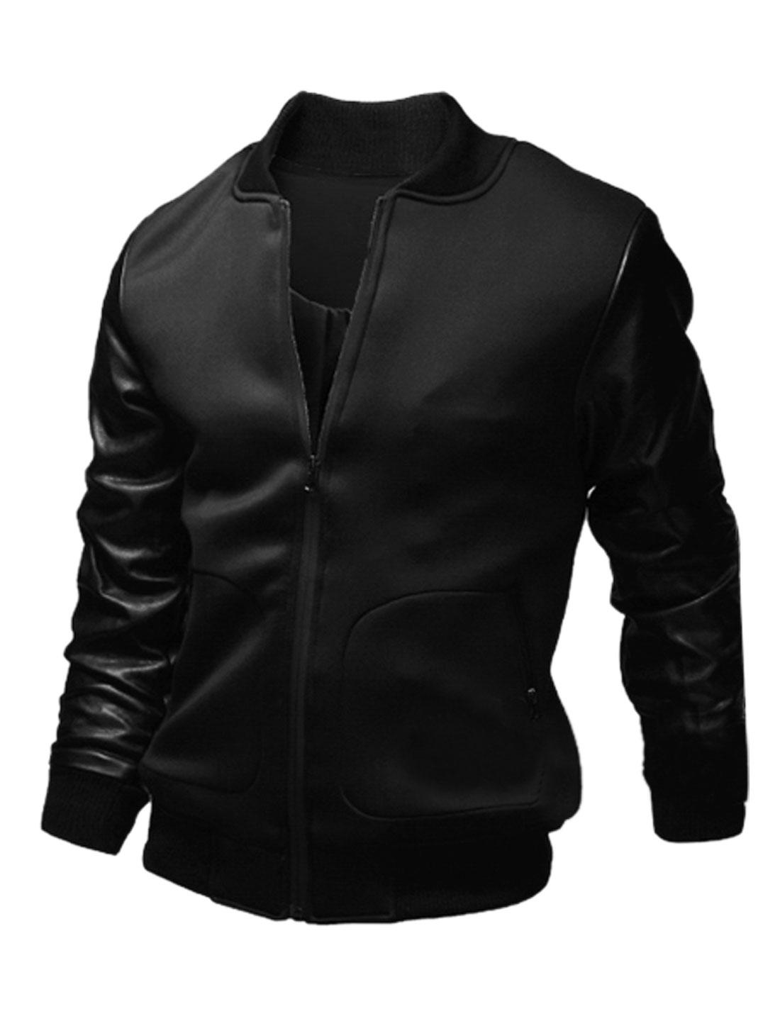 Men Imitation Leather Panel Stand Collar Ribbed Trim Jacket Black