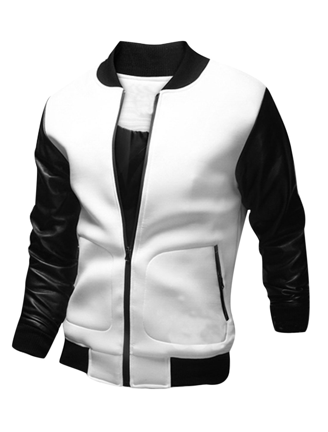 Men Imitation Leather Panel Stand Collar Zip Up Casual Jacket White M