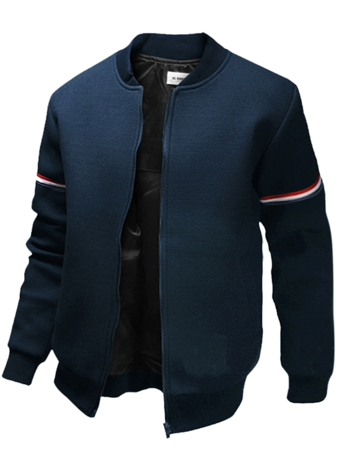 Men Stripes Detail Long Sleeves Ribbed-Trim Jacket Navy Blue Red M