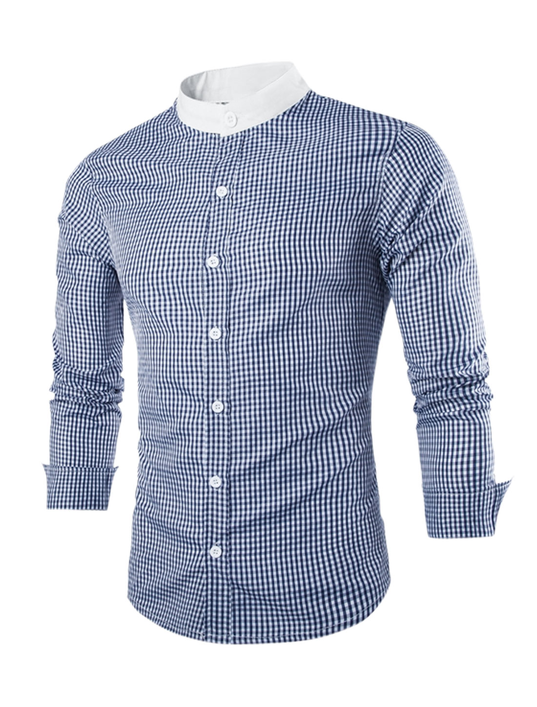 Men Long Sleeve Stand Collar Button Down Slim Fit Plaids Shirt Blue M