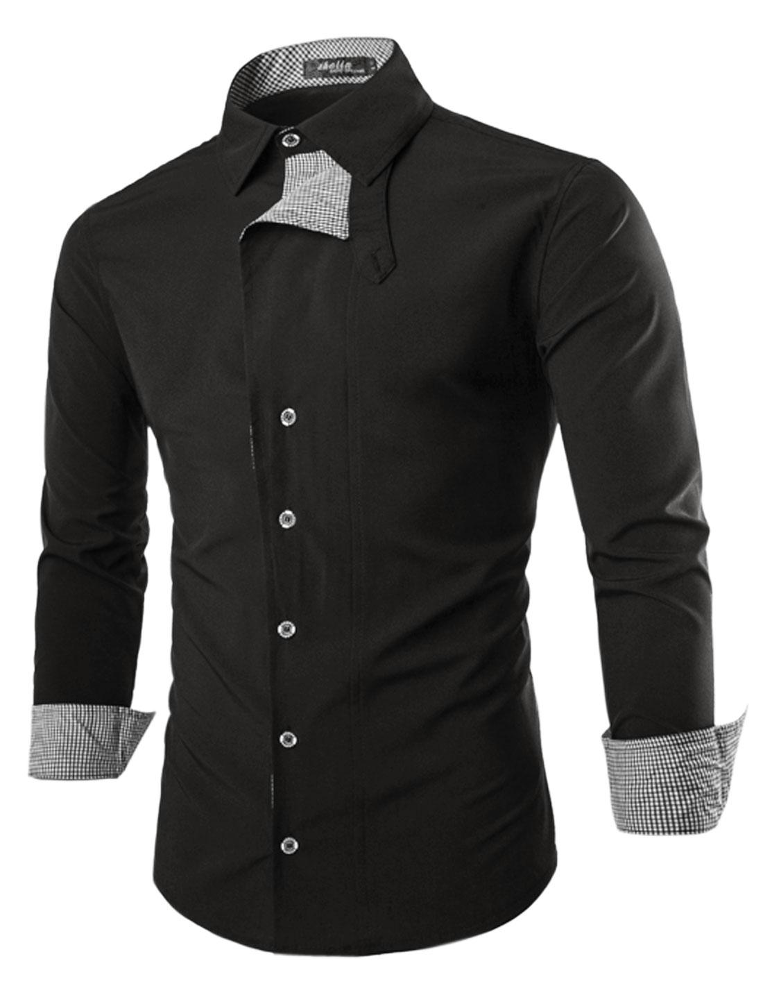 Men Long Sleeve Point Collar Slim Fit Button Down Layered Shirt Black M