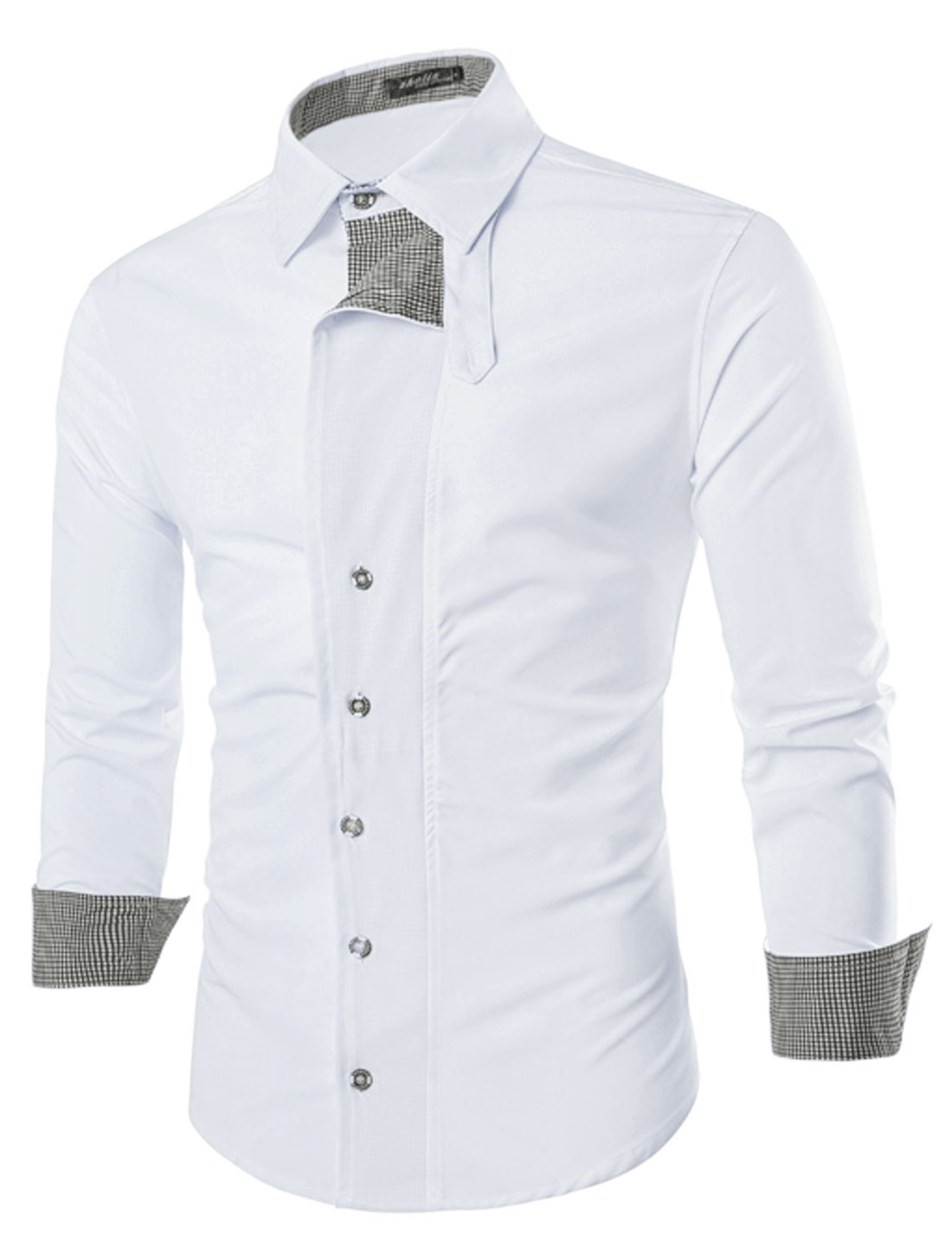 Men Long Sleeve Point Collar Layered Button Down Shirt White M