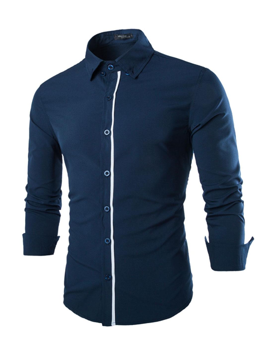 Men Long Sleeve Point Collar Slim Fit Leisure Shirt Navy Blue M
