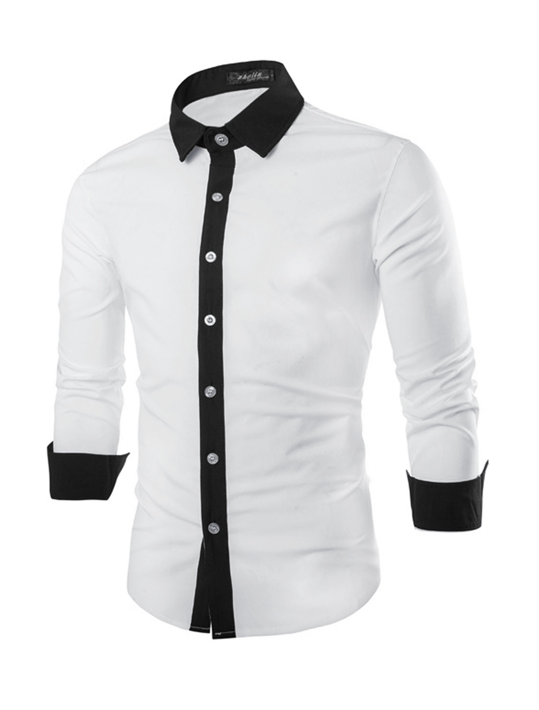 Men Long Sleeve Button Down Contrast Detail Shirt White Black M