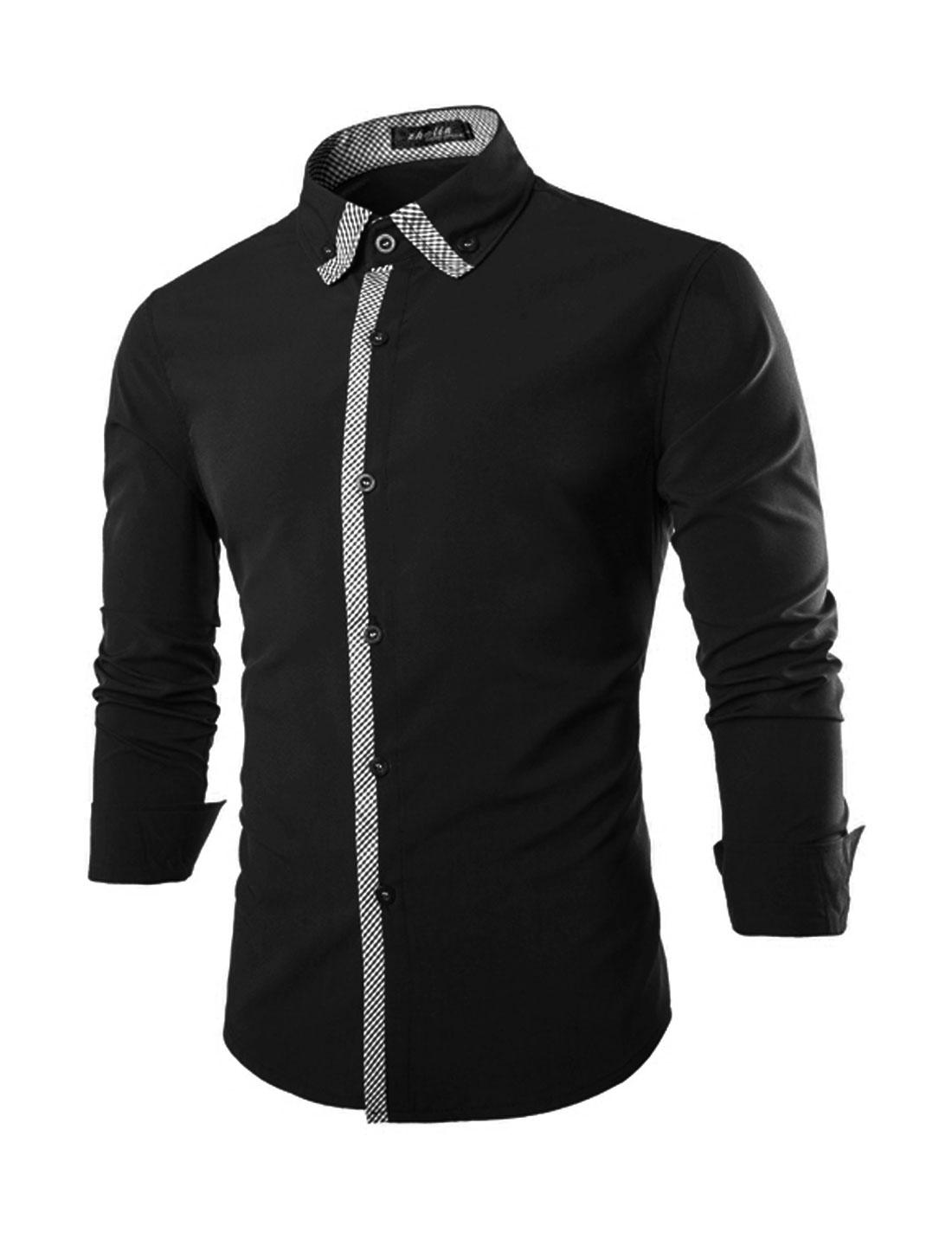 Men Long Sleeve Point Collar Slim Fit Button Down Plaids Shirt Black M