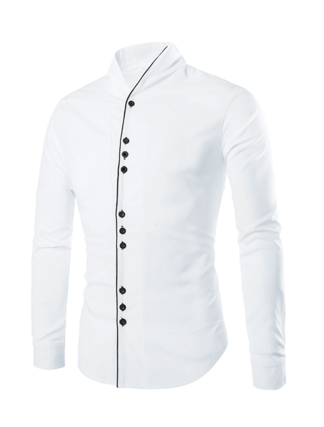 Men Stand Collar Button Down Casual Shirts White M