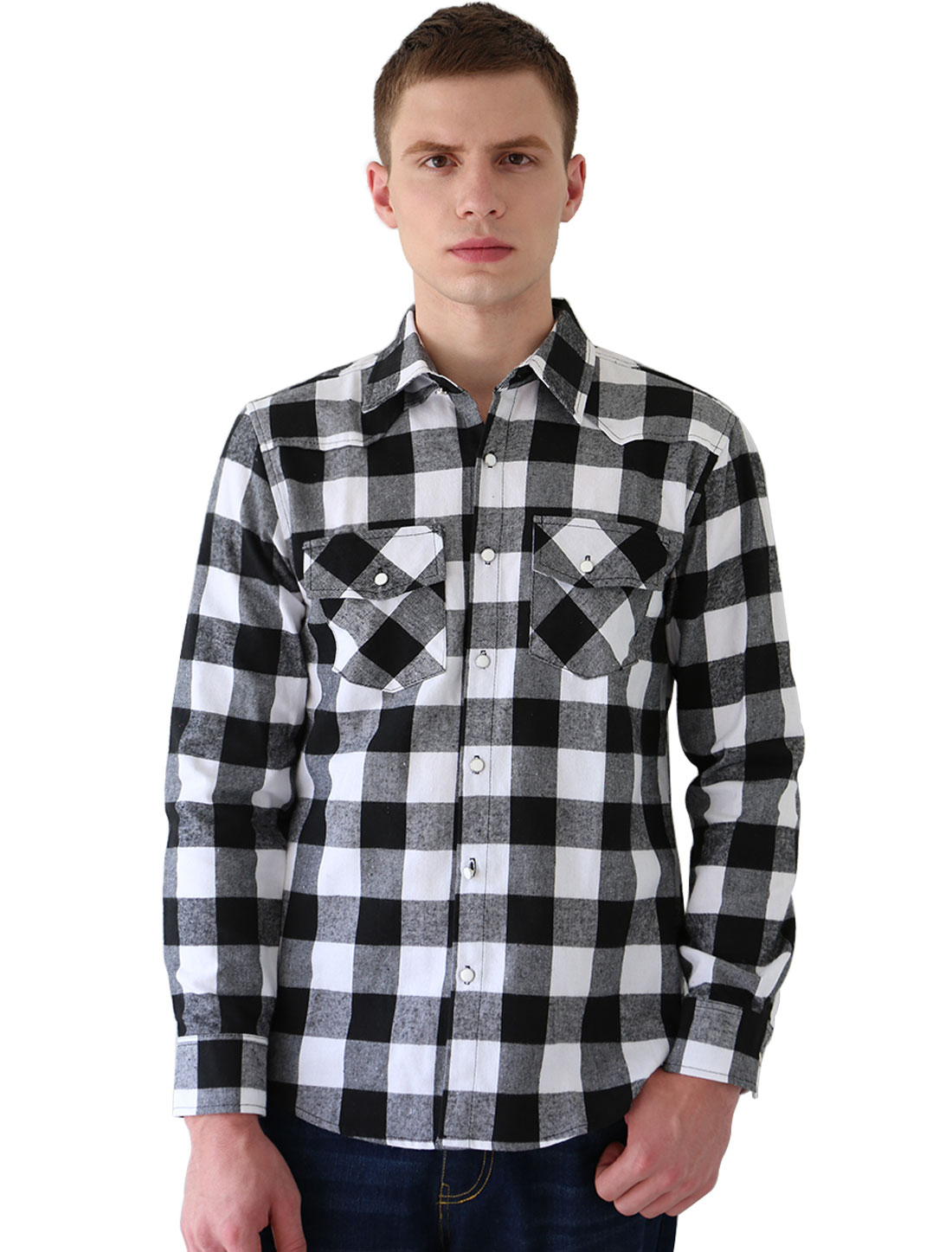 Men Long Sleeve Chest Pockets Button Down Checks Shirt Black White M