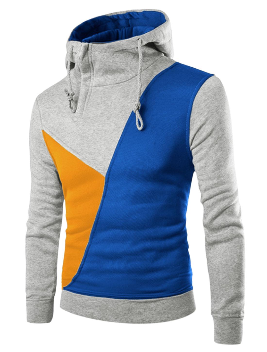 Men Color Block Inclined Zip Upper Casual Drawstring Hoodie Blue Light Gray M