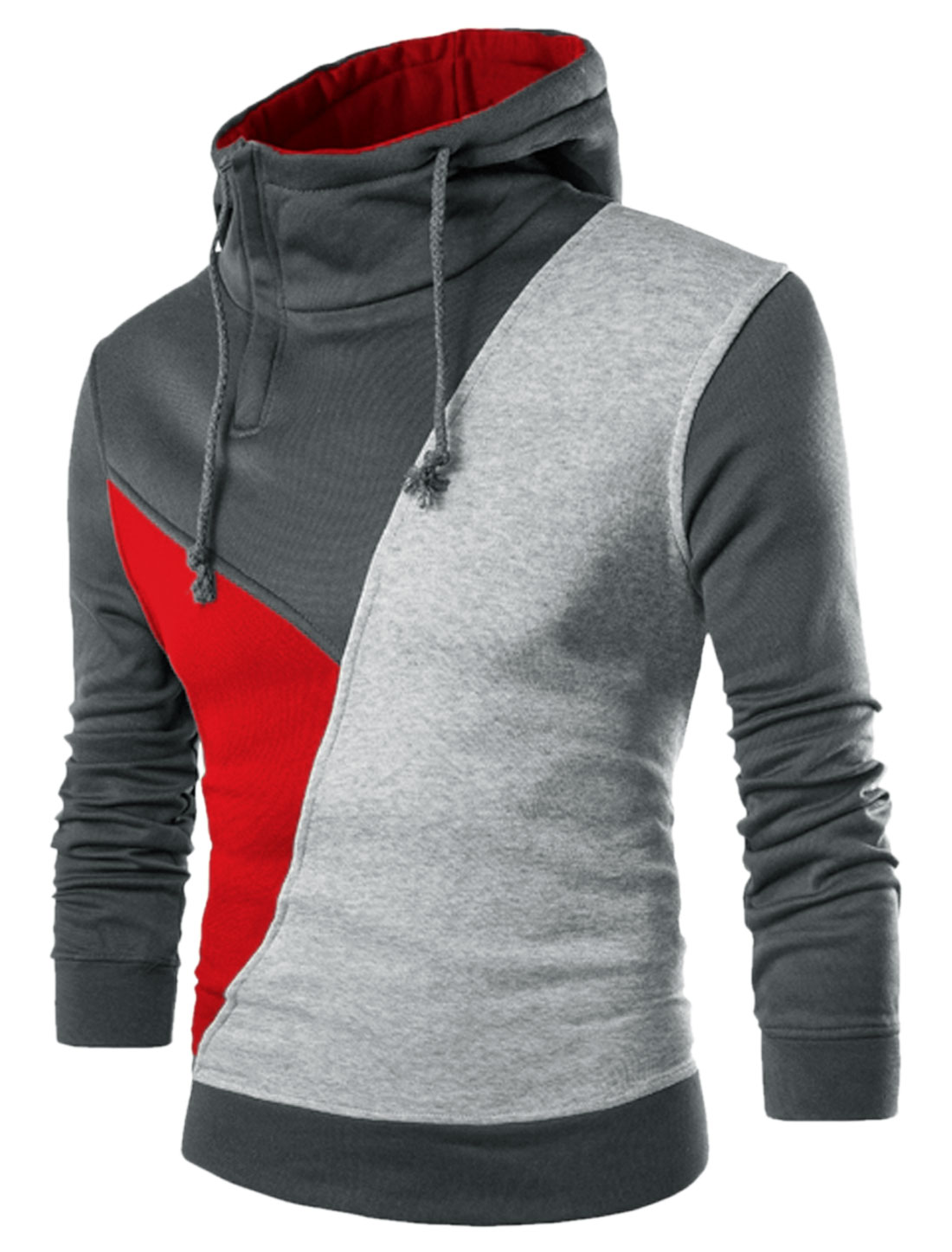 Men Color Block Long Sleeves Soft Lined Drawstring Hoodie Red Light Gray M