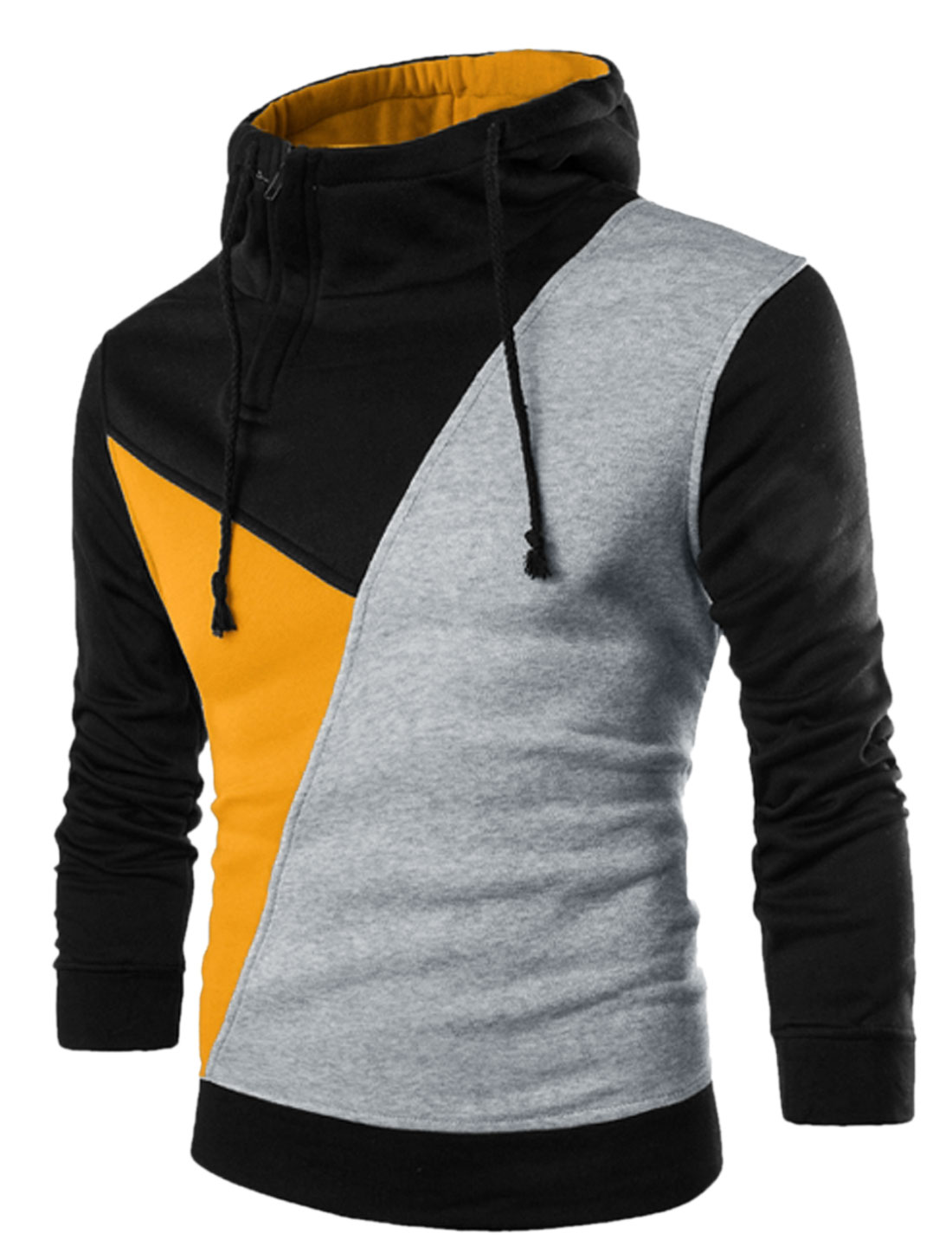 Men Color Block Inclined Zip Upper Soft Lined Drawstring Hoodie Yellow Light Gray M