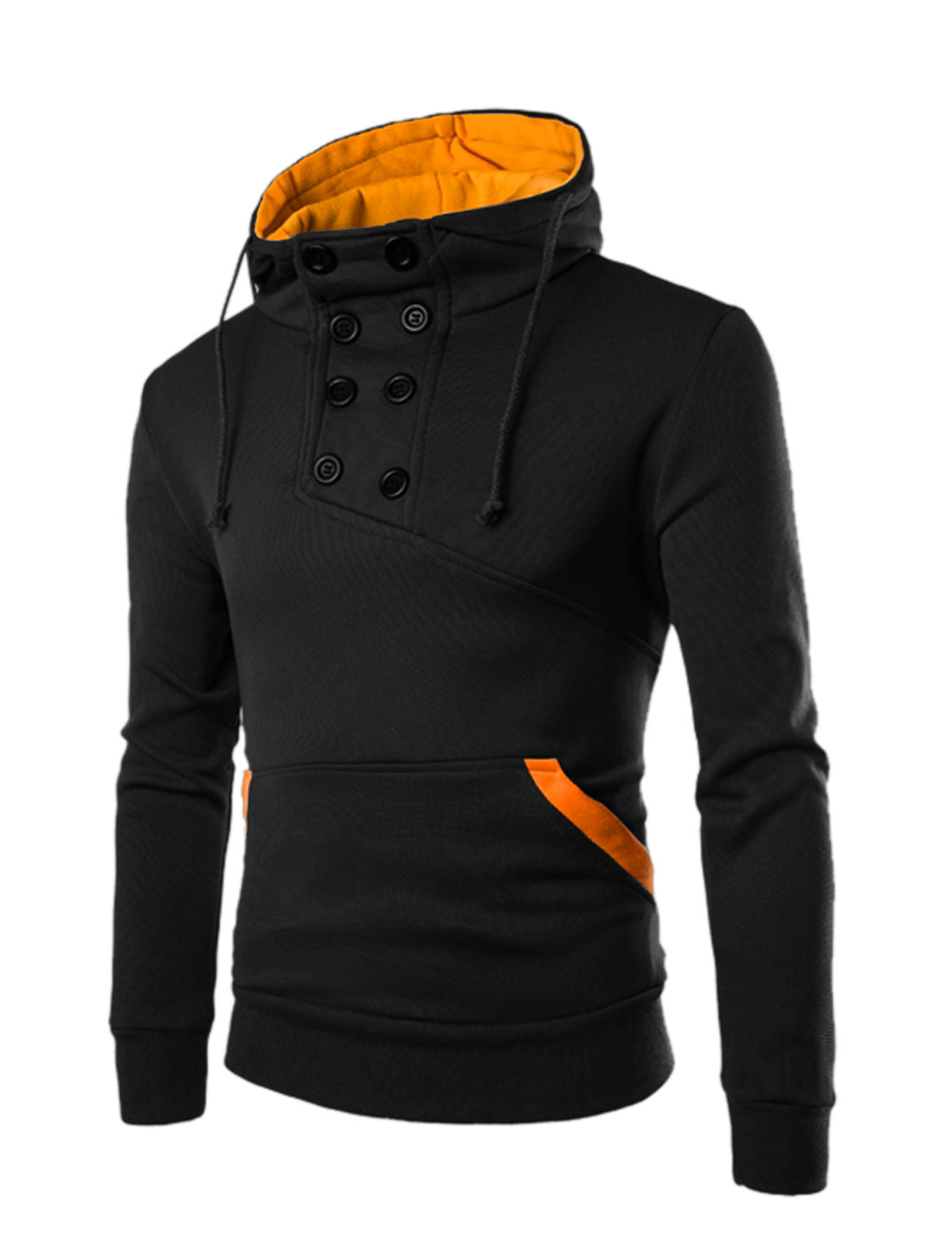 Men Buttons Decor Upper Kangaroo Pocket Front Drawstring Hoodie Black M