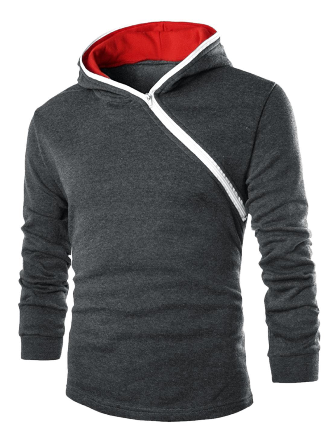 Men Half Inclined Zipper Contrast Color Detail Casual Hoodie Dark Gray M