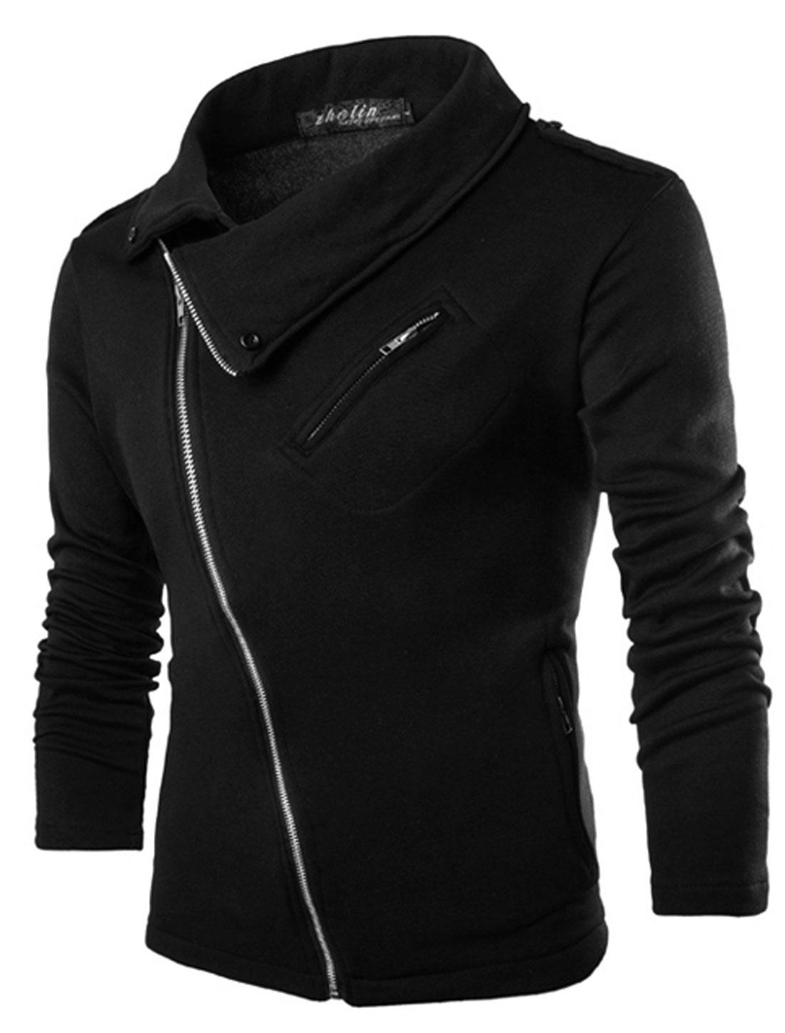 Men Long Sleeve Turn Down Collar Inclined Zipper Jacket Black M
