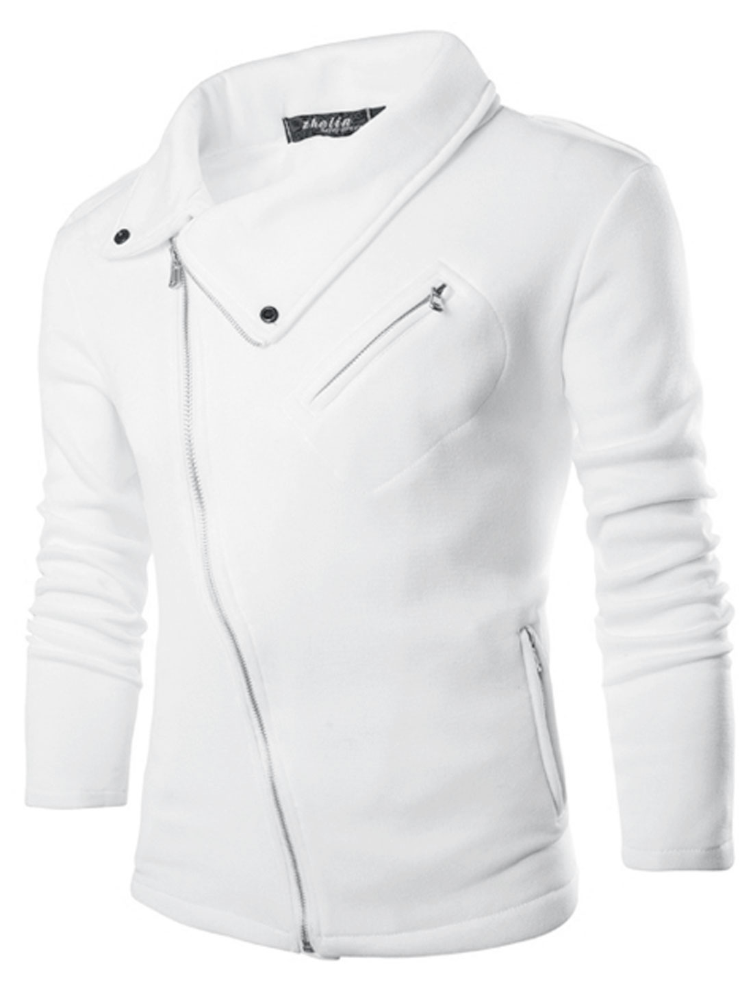 Men Long Sleeve Turn Down Collar Zipper Pockets Casual Jacket White M