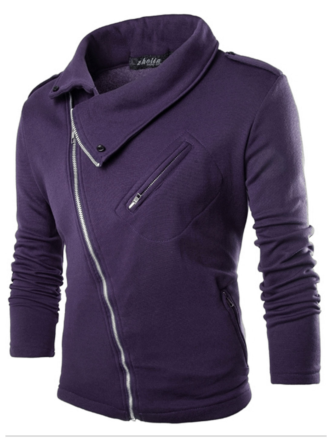 Men Long Sleeve Turn Down Collar Inclined Zipper Casual Jacket Purple M