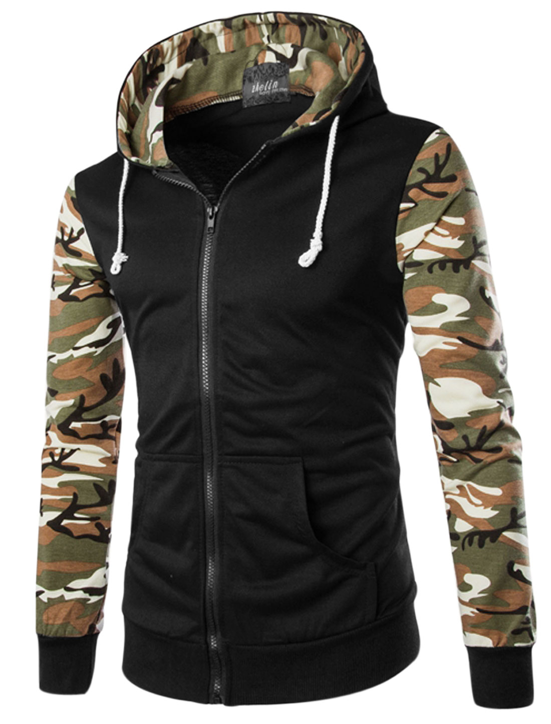 Men Zip Closure Front Pockets Camouflage Hooded Casual Jacket Black M