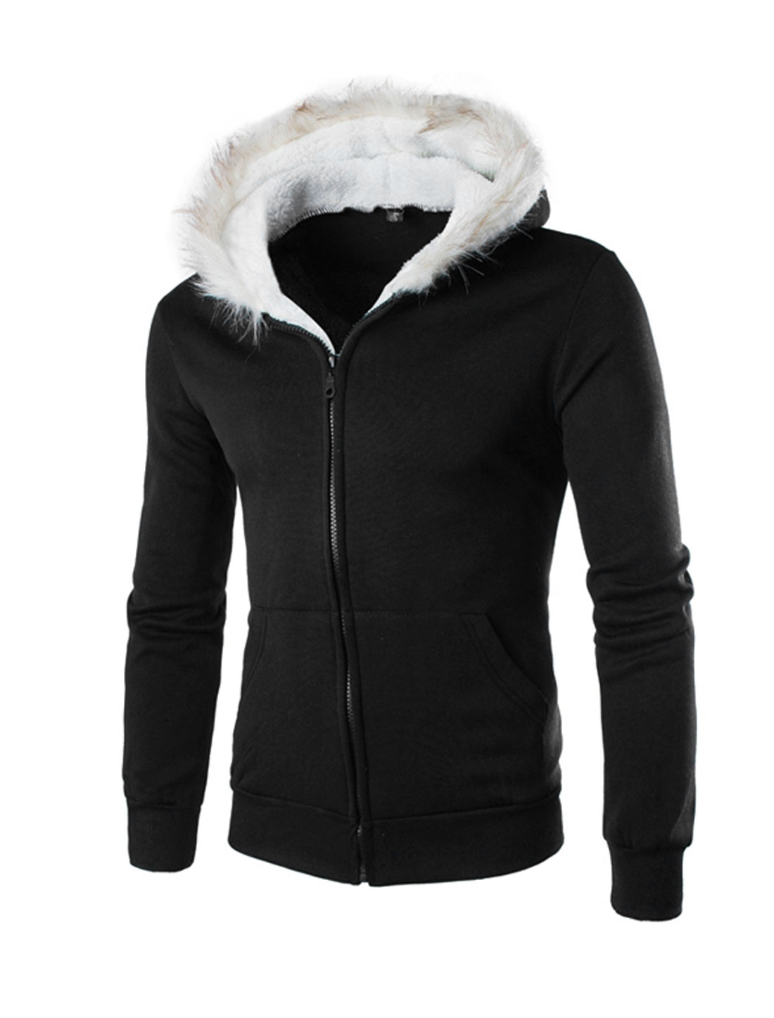 Men Long Sleeves Soft Lined Zip Up Hooded Jacket Black M