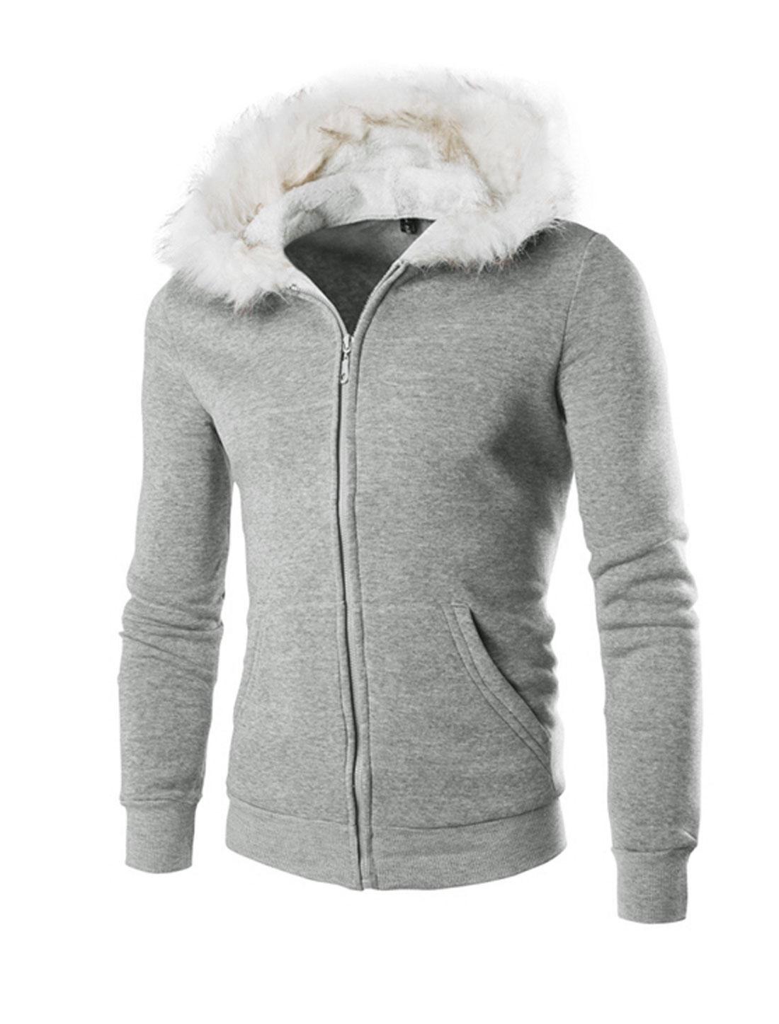 Men Long Sleeves Zipper Casual Hooded Jacket Light Gray M
