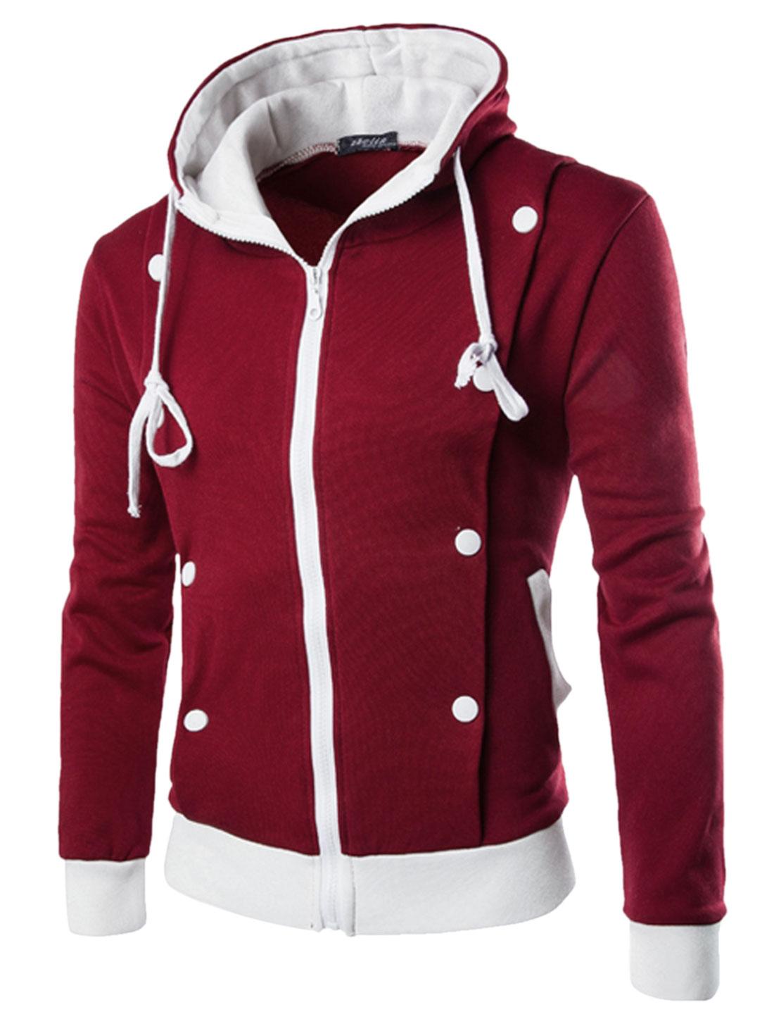 Men Long Sleeve Hooded Zip Closure Front Pocket Jacket Burgundy M