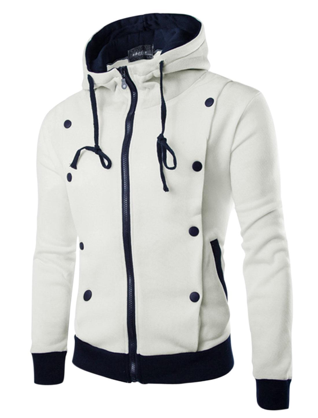 Men Long Sleeve Drawstring Hoodie Zip Closure Front Pocket Jacket White M