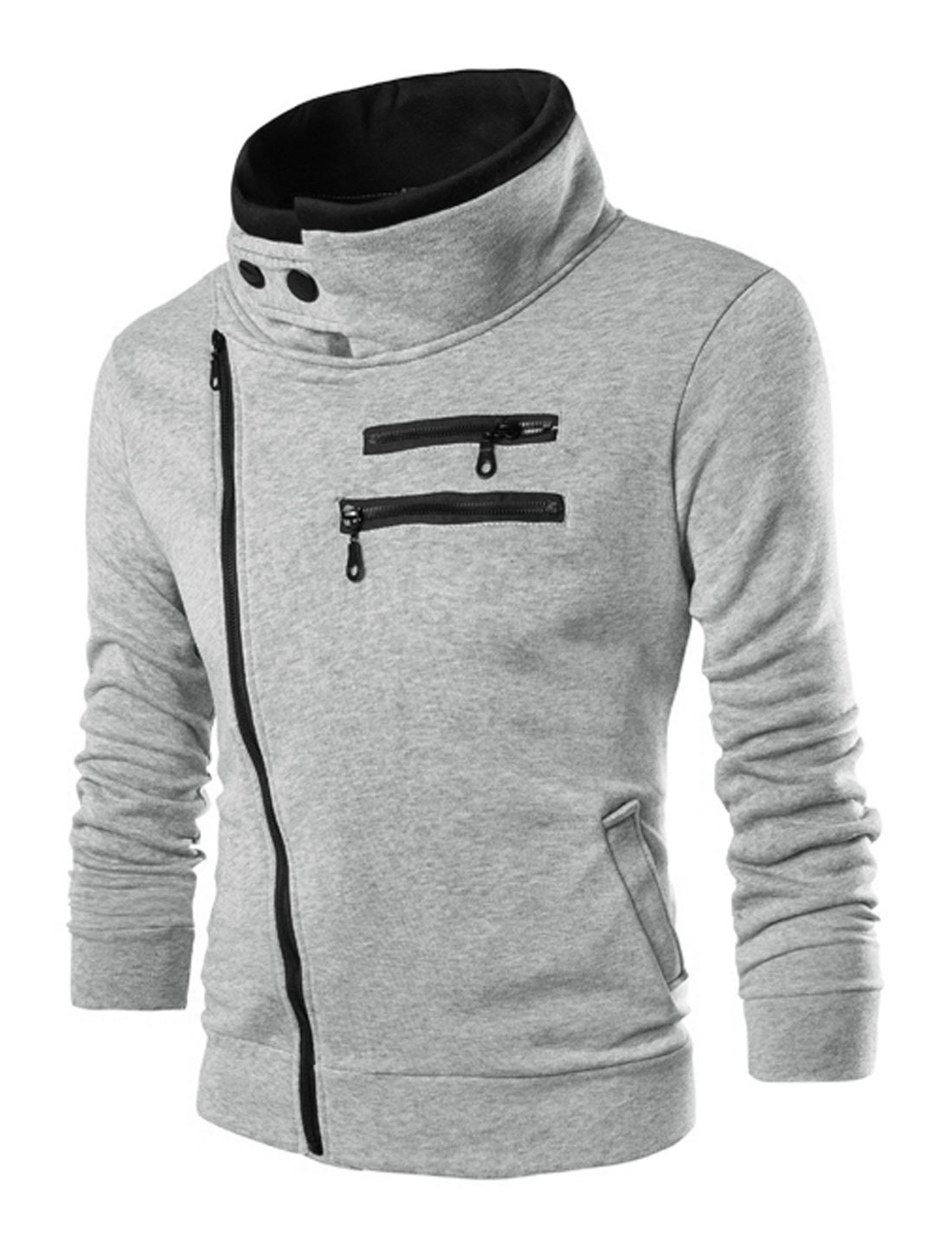 Men Long Sleece Inclined Zipper Front Pockets Jacket Light Gray M