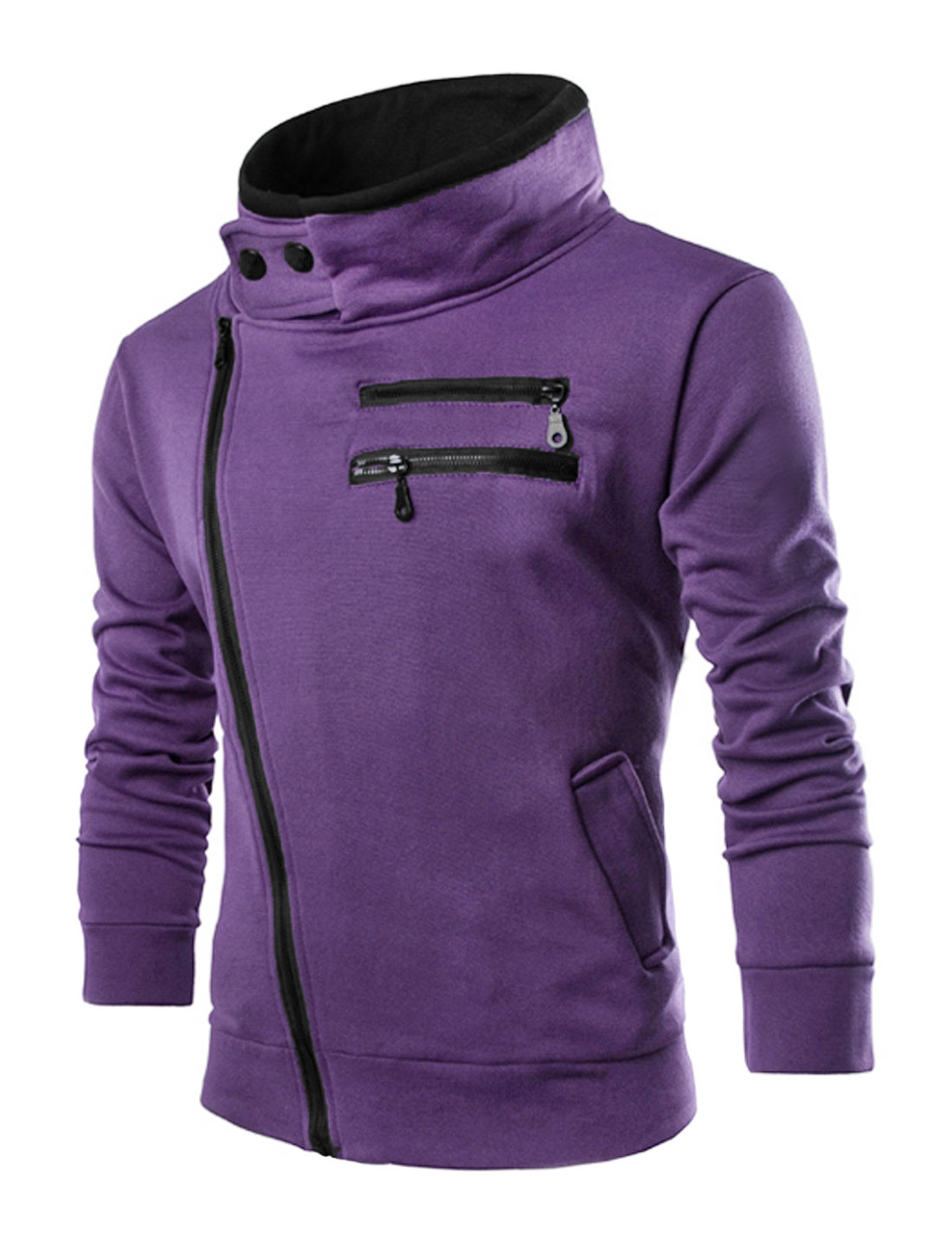 Men Long Sleeve Turn Down Collar Front Pockets Slim Fit Jacket Purple M
