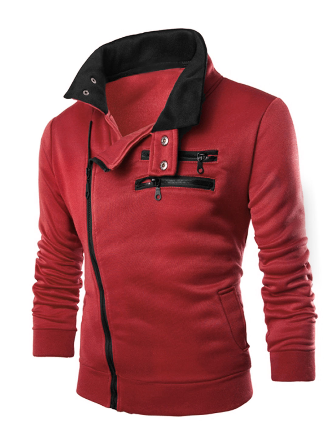 Men Inclined Zipper Front Pockets Slim Fit Casual Jacket Burgundy M