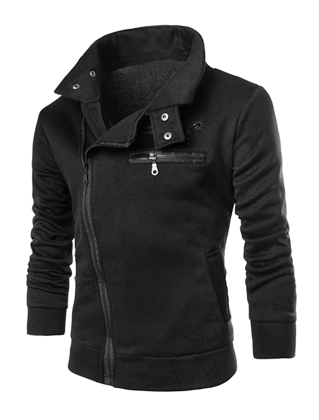 Men Long Sleeve Inclined Zipper Front Pockets Slim Fit Jacket Black M