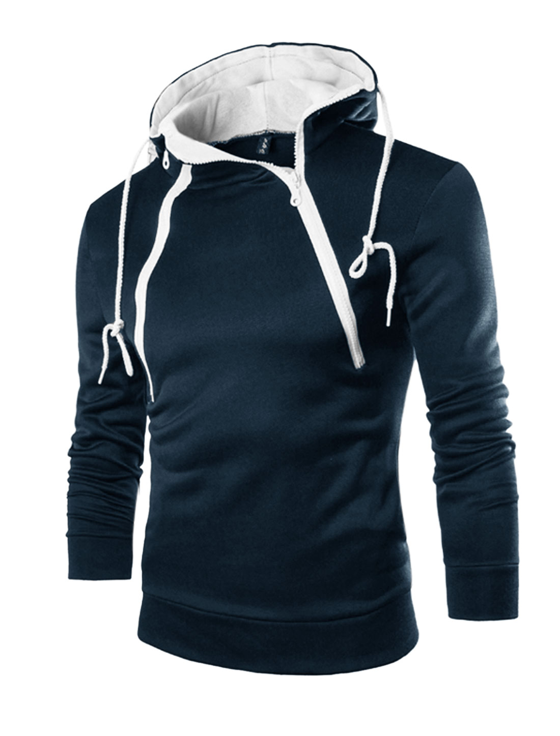 Men Inclined Zippers Upper Long Sleeves Soft Lined Hoodie Navy Blue M