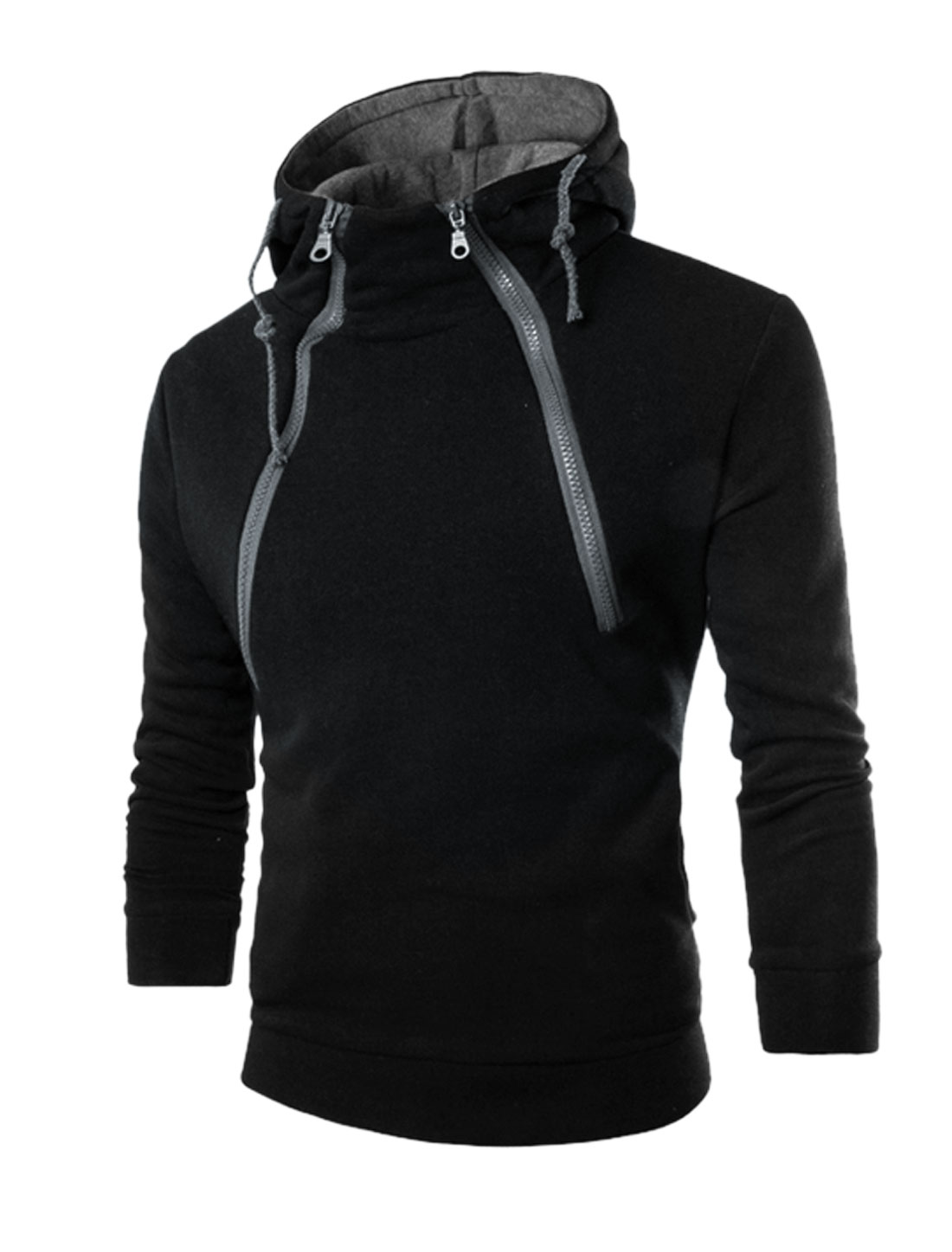 Men Two Inclined Zippers Upper Drawstring Hoodie Black M