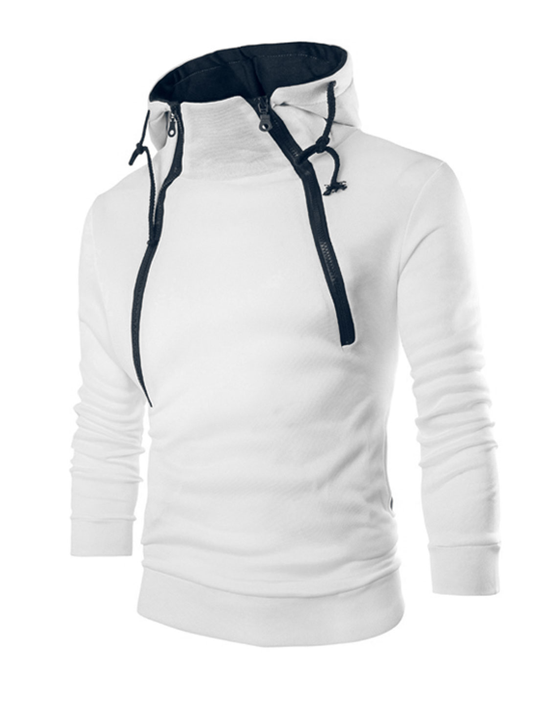 Men Two Inclined Zippers Upper Long Sleeves Drawstring Hoodie White M