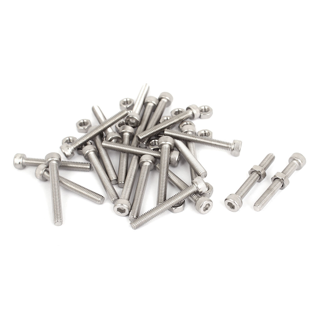 M4x30mm Stainless Steel Hex Socket Head Knurled Cap Screws Bolts Nut Set 20Pcs