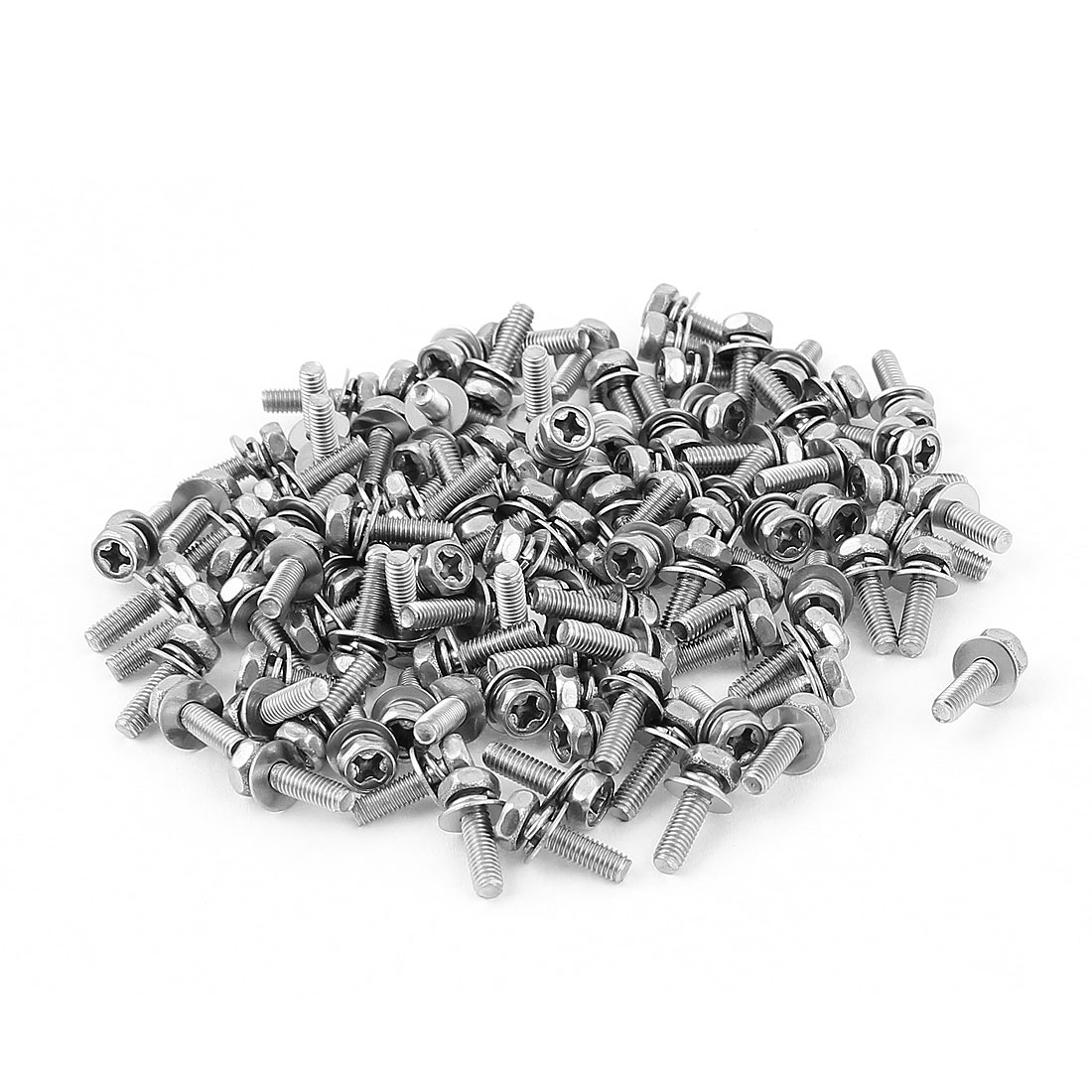 M3x10mmx7mm Hex Bolts Tap Phillips Head Screws 100pcs w Flat Split Washers