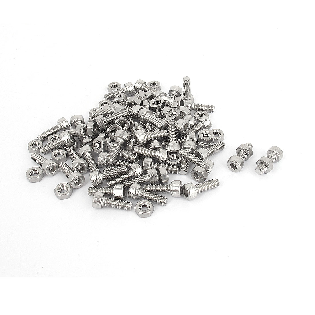 M4x12mm Stainless Steel Hex Socket Head Knurled Cap Screws Bolts Nut Set 50Pcs