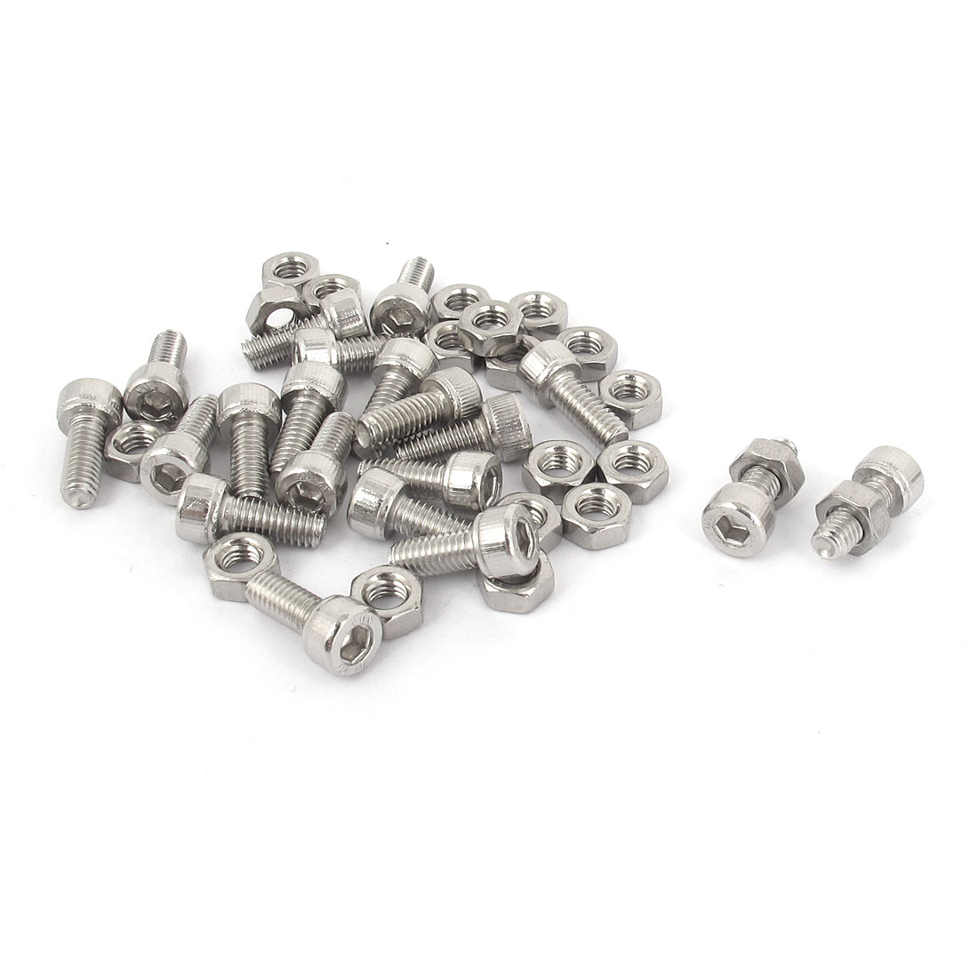 M4x10mm Stainless Steel Hex Socket Head Knurled Cap Screws Bolts Nut Set 20Pcs