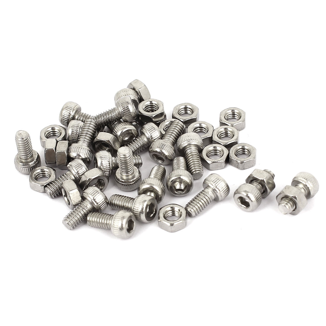 M4x8mm Stainless Steel Hex Socket Head Knurled Cap Screws Bolts Nut Set 20Pcs