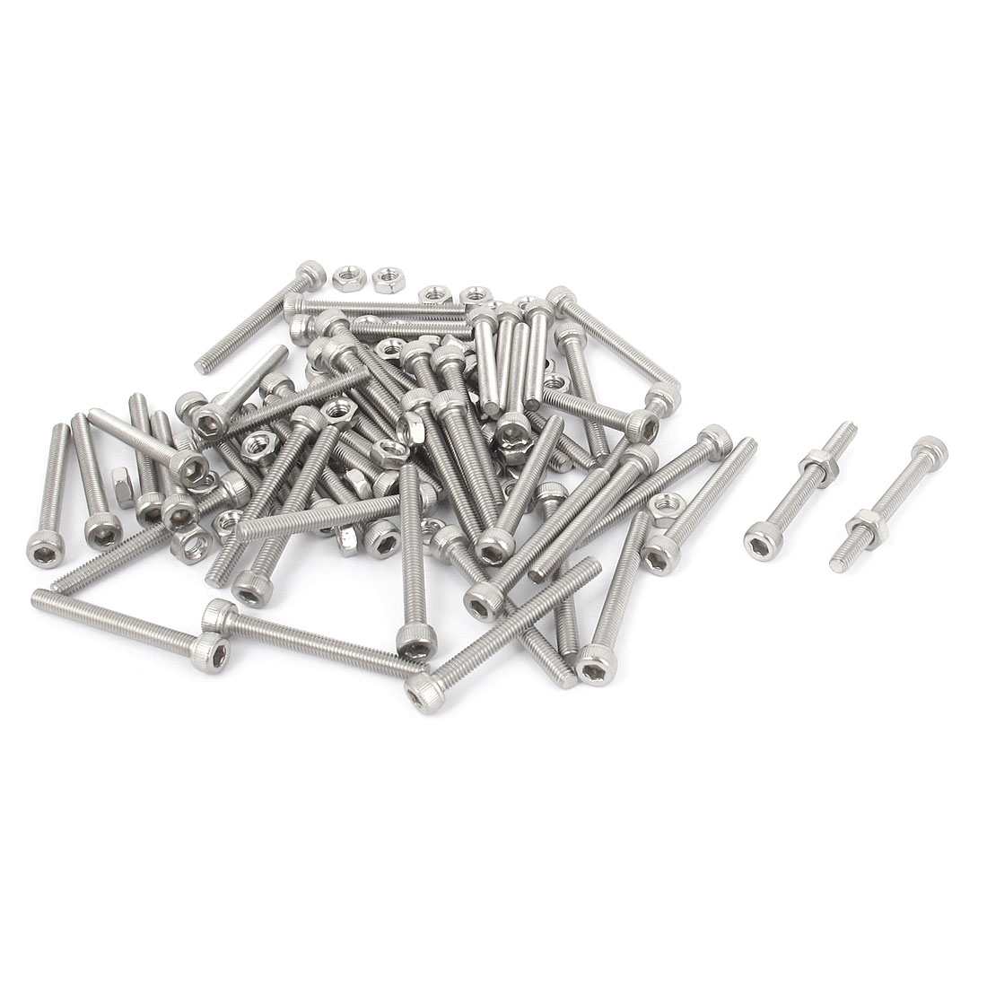 M3x28mm Stainless Steel Hex Socket Head Knurled Cap Screws Bolts Nut Set 50Pcs